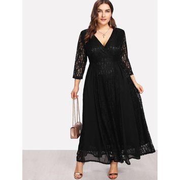 Plus Surplice Neck Floral Lace Overlay Dress