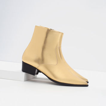 GOLD TONE FLAT ANKLE BOOTS from ZARA 9d0d4df2f