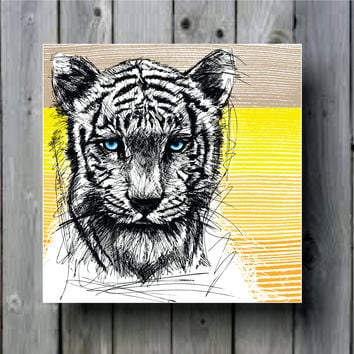 Sketch of a White Tiger Art Background Photo Panel - Durable Finish - High Definition - High Gloss