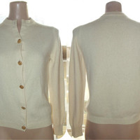 Vintage 50s Ivory Cashmere Cardigan Sweater Sexy Feminine Pin-Up Fit Ballantyne of Scotland