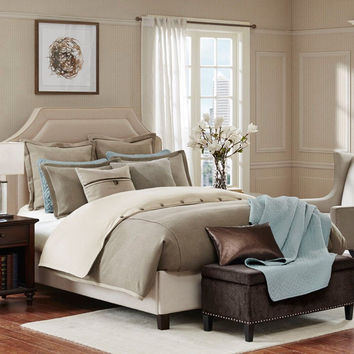 HAMPTON HILL 6pc, 8pc & 9pc Kingston Comforter Sets Taupe NEW
