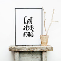 "PRINTABLE Art"" Eat Sleep Read""Inspirational Art,Best Words,Hand Lettering,Motivational Poster,Room Decor,Nursery Decor,Typography Print"