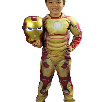 Iron Man Boys Child Avengers God color mask Costume Child Halloween Costume Boys Marvel Movie Superhero Cosplay Clothing cool