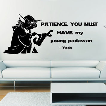 Yoda Wall Decals Quote Patience You Vinyl Sticker Star Wars Art Home Decor SM41