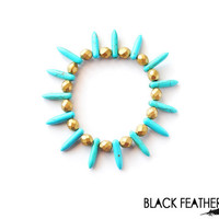 Turquoise and Gold Spike Bracelet