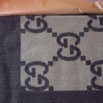 ESBON2D AUTHENTIC GUCCI THROW BLANKET GG LOGO WOOL CASHMERE BLEND BROWN NEW 950.00