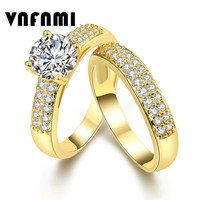 VNFNMI Brand 2Pcs 18K Gold/Platinum Plated Finger Ring for Women with AAA Cubic Zircon Engagement Wedding Bridal Sets Jewelry