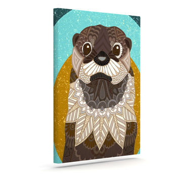 "Art Love Passion ""Otter in Water"" Blue Brown Canvas Art"