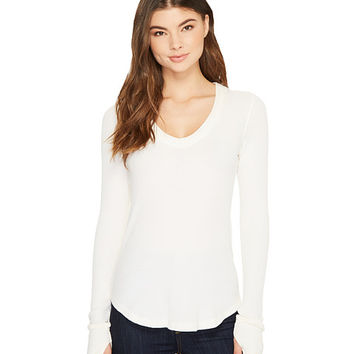 Splendid Low V-Neck Long Sleeve