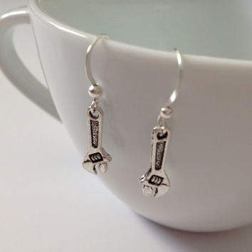 Dollar Days Sale: Silver wrench earrings, wrench earrings, dangle, silver, tool