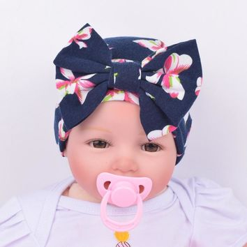Fashion Cute Newborn Infant Baby Girls Stripe Bowknot Beanie Hat Comfortably Hospital Cap Hot Sale