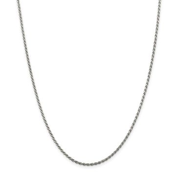 925 Sterling Silver Rhodium-plated 1.75mm Diamond-cut Rope Chain Necklace, Bracelet or Anklet