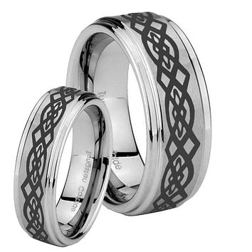 His and Hers Step Edge Celtic Knot Tungsten Silver Wedding Rings Set