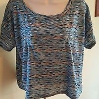 Free People marbled colored shirt top sz L Large EUC