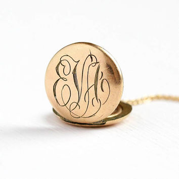 Antique EVA Locket - Monogrammed 14k Gold Filled Round Pendant Necklace - Vintage 1900 Edwardian Initials Photograph Personalized Jewelry