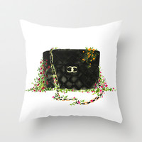 Bags in the wild - fashion illustration  Throw Pillow by Koma Art