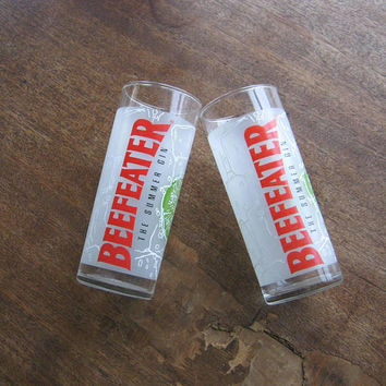 Set of 4 Beefeater Gin Cocktail Tumblers + Seagram's 7 Crown/Ocean Spray Promo Frosted Glass w/ Firecracker Recipe; U.S. Shipping Included