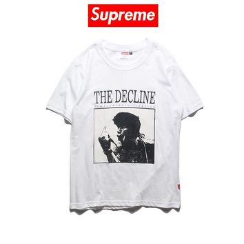 Supreme Decline of Western Civilization 2019 early spring new round neck middle finger printed short-sleeved T-shirt white