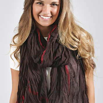 crinkle craze plaid scarf - brown