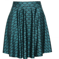 Corrugated Scales Mermaid Print Pleated Skirt