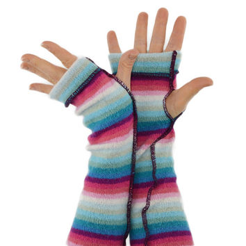 Arm Warmers in Rainbow Blue and Pink Stripes - Recycled Fingerless Gloves - Sleeves