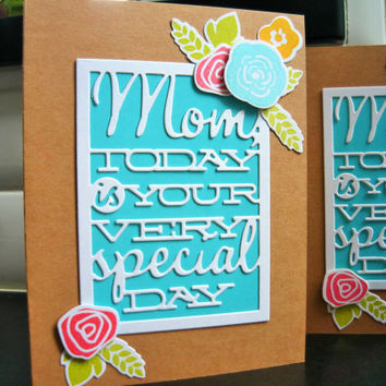 Handmade Mother's Day Card, Floral Mothering Sunday Card, Mothers Day Greeting Card