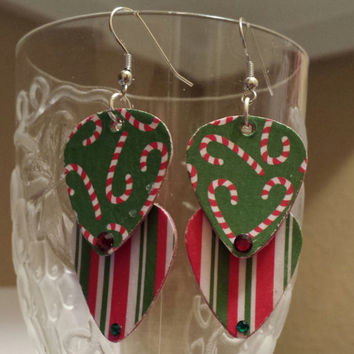 Betsy's Jewelry -  Guitar Pick Earrings  Christmas - Holiday - Candy Canes - Upcycled Jewelry
