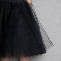 KToo USA Layered Tulle Midi Skirt - Black