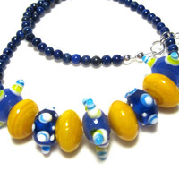 Mustard Yellow Necklace Blue Lampwork Glass Lapis Beads Bright Colorful Funky Beaded Bumpy Bead Sterling Silver Chain