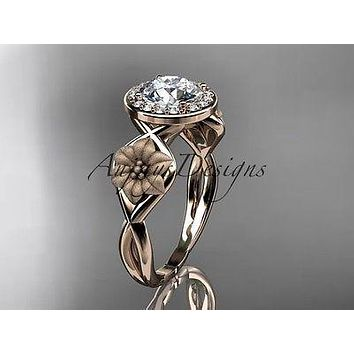 Unique 14kt rose gold diamond flower wedding ring, engagement ring ADLR219