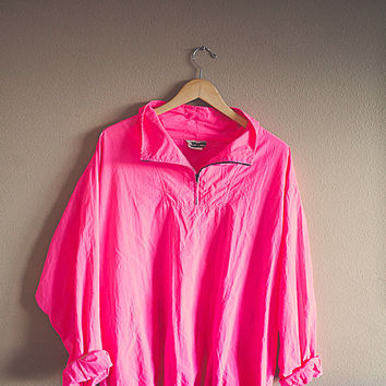 86c16916b9 80 s Neon Windbreaker Vintage Hot Pink Oversized Nylon Wind Breaker Jacket  Coat Size XL Club Kid