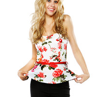 Papaya Clothing Online :: FLORAL BELTED DRESSY TOP