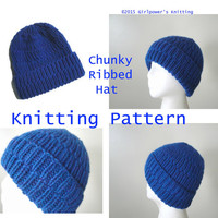 Chunky Ribbed Hat PDF Knitting Pattern Easy Knit Beanie Hat Cap, Children Teens Women Men Adults