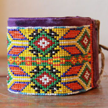 Vintage Native American Beaded Cuff / Bracelet
