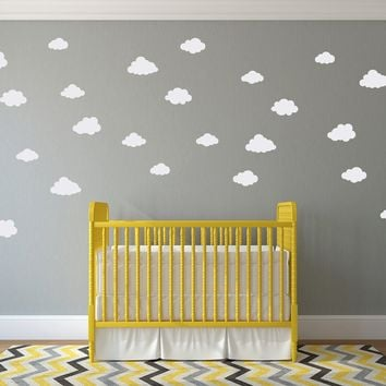 Puffy Cloud Decal Set - (Set of 28) - Cloud Wall Sticker - Children Wall Decal - Nursery Decor