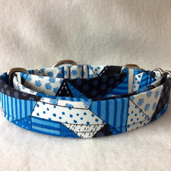 "Snow Daze Crazy Quilt Patch Blue Martingale or Quick Release Collar 3/4"" 1"" Martingale Collar, 1.5"" Martingale Collar or 2"" Martingale"