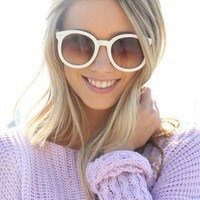 SABO SKIRT  Round Sunglasses - White - $16.00
