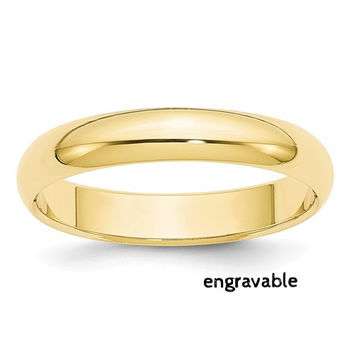 10k Yellow Gold 4mm Half Round Band