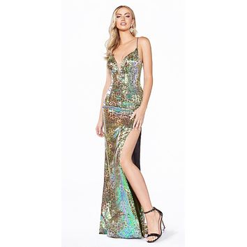 Long Fitted Gown Leopard Print Multi-Color Iridescent Sequin Overlay