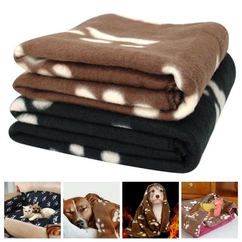 Soft Fleece Puppy Dog Sleep Blanket Cat Thick Warm Blankets Pet House Sleeping Bed Mat Pad Kennel With Paw Print For Dogs Cats