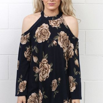 Soft Magnolia Print Cold Shoulder Sweater {Navy}