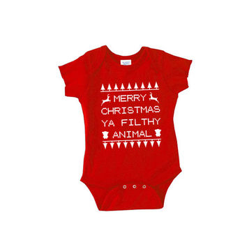 Merry Christmas Ya Filthy Animal funny cute one piece sleeper new mom dad mommy daddy body suit romper t shirt 2t 3t onesis newborn xmas day