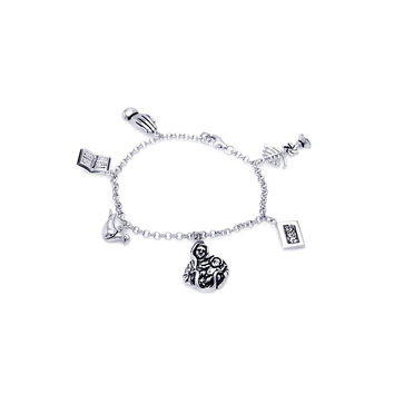 .925 Sterling Silver Rhodium Plated Religious Charm Bracelet: SOD