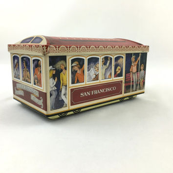 Vintage San Francisco Cable Car Tin Box 1980's Street Car Collectible Trolley Tin Box Made in Western Germany San Francisco 1980's Souvenir