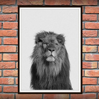 Lion Print, Nursery Animal Wall Art, Kids Printable Art, Safari African Animal Print, Printable Kids Gift, Lion Photo Wall Art *120*