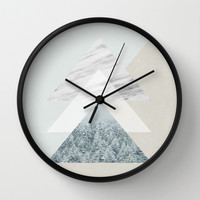 Snow into the forest Wall Clock by Cafelab