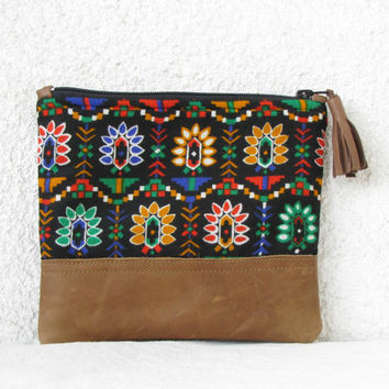 Clutch purse, cosmetic bag, vintage cotton, geometry, tribal