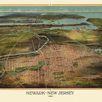 Old Map of Newark New Jersey 1916 Essex County