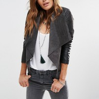 ASOS Waterfall Jacket in Patched Suede and Leather