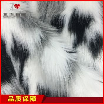 Faux Fur Jacquard fabric long plush fabrics autumn and winter women 's cloth fur coat width150cm (80%acrylic+20%polyester)